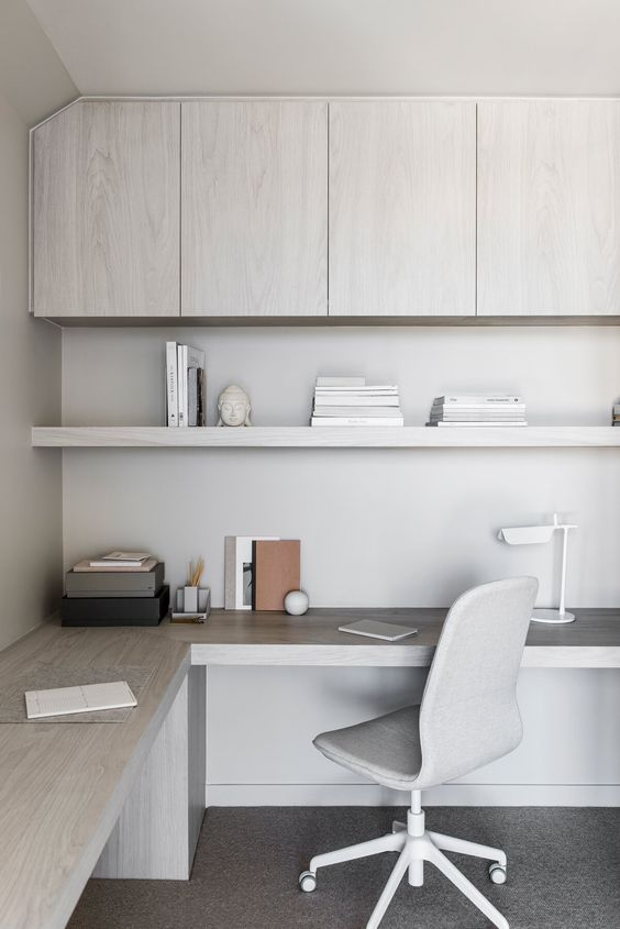 a cute neutral minimalist home office
