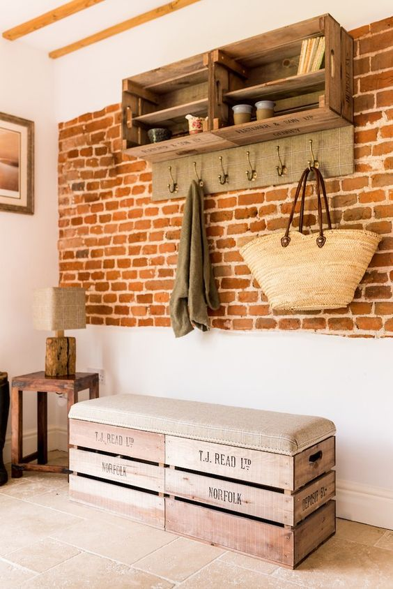 a small and cute industrial crate bench with upholstery is a lovely idea for an entryway, make it yourself