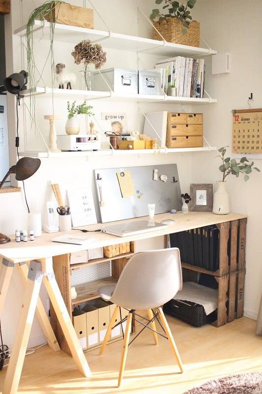 a trestle desk with crates here and there for storage and a tabletop is a lovely idea for an industrial or rustic home office