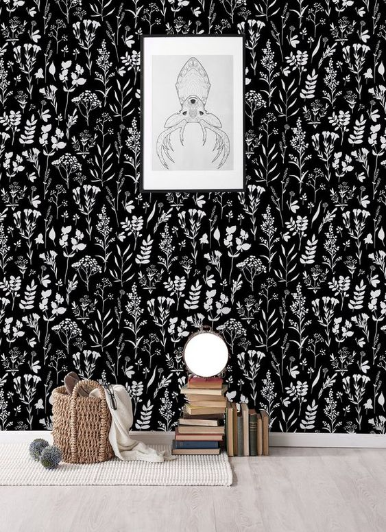 contrasting black and white botanical wallpaper will create a mood and will be timeless as this is a classic color scheme