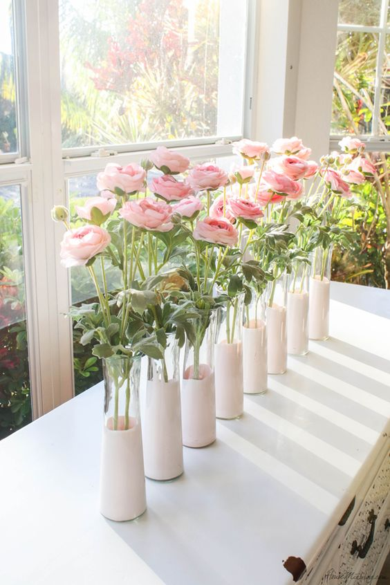 pink dip dyed vases and pink blooms will compose a lovely and cute spring cluster centerpiece for spring or summer