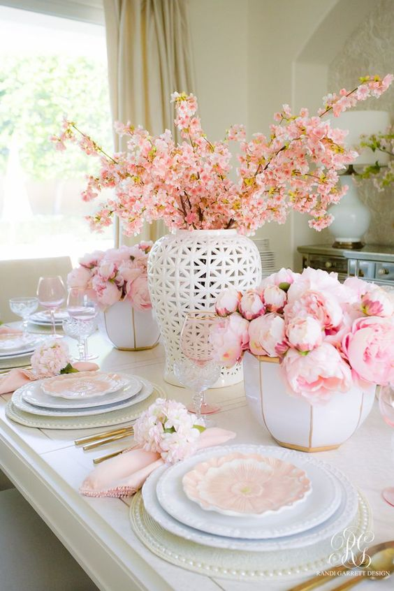a glam spring tablescape