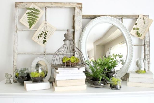 shabby window frames and a mirror, pages with leaves pressed and little nests filled with moss