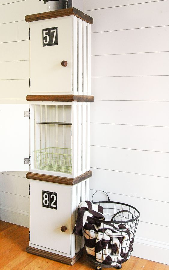 stylish and cool lockers made of crates are amazing for storing things in any space, from a mudroom to a kids' room