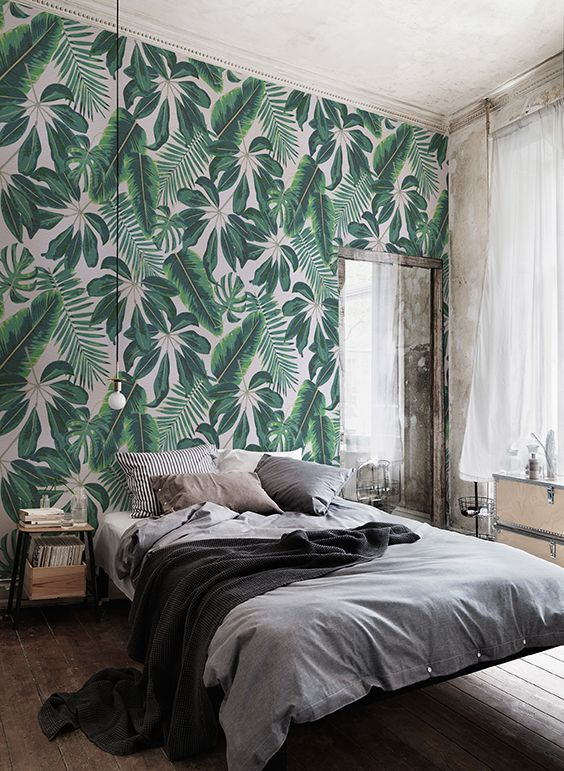 tropical leaf wallpaper never goes out of style but if it's very active, keep it to just one accent wall in your space