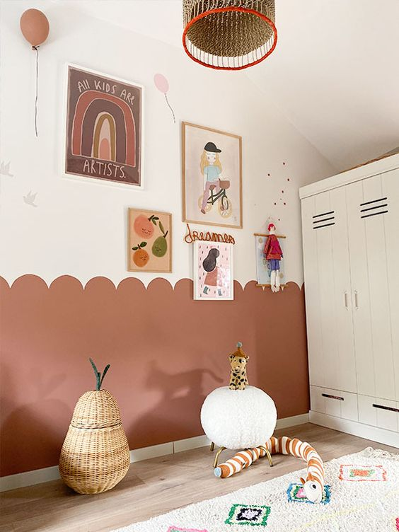 a cute playroom design with a gallery wall