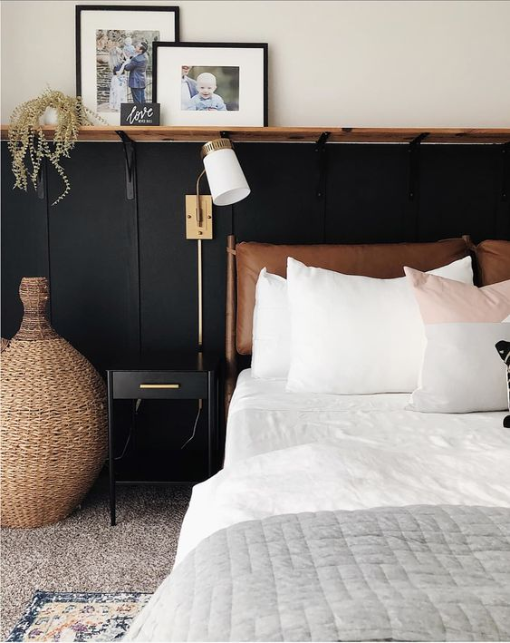 a stylish leather cushion headboard will add warmth, coziness and a catchy look and will make reading here relaxing