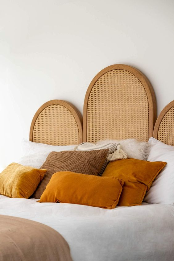 a stylish cane webbing headboard will instantly give a boho feel to the bedroom