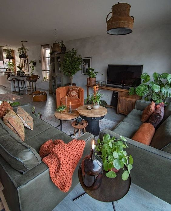 a moody grey and dark green living room with potted plants, rust pillows, a blanket and a chair and a vintage lamp