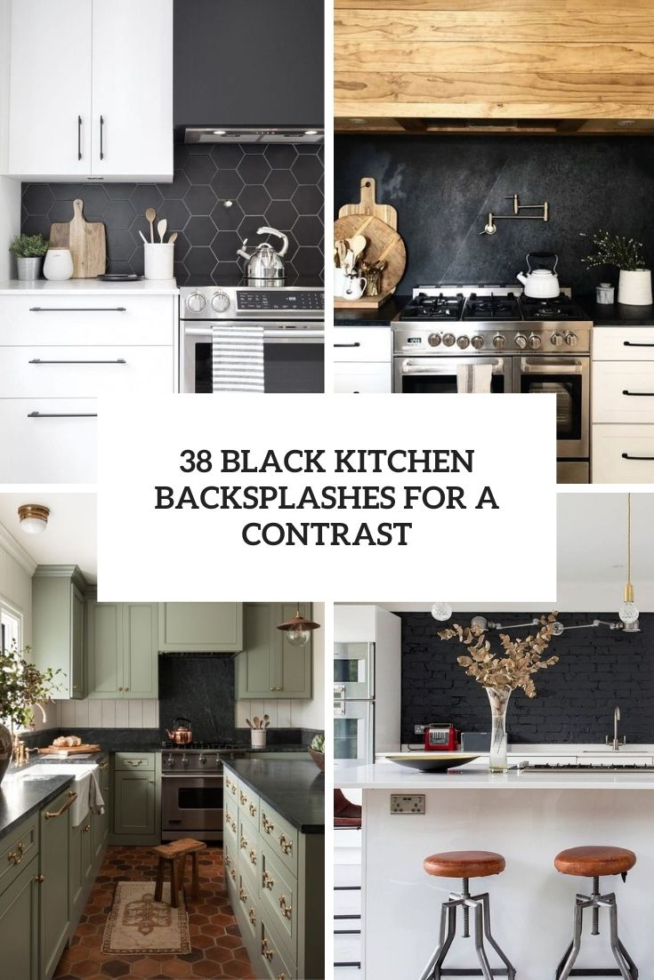 black kitchen backsplashes for a contrast cover