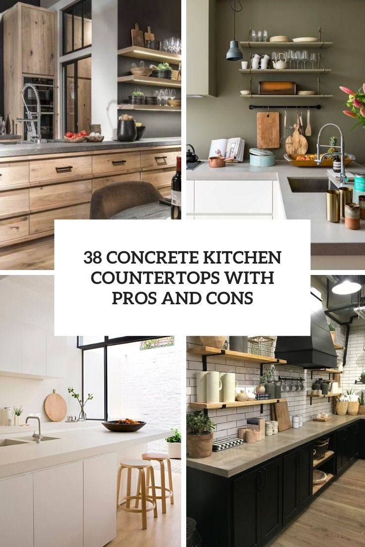 concrete kitchen countertops with pros and cons cover