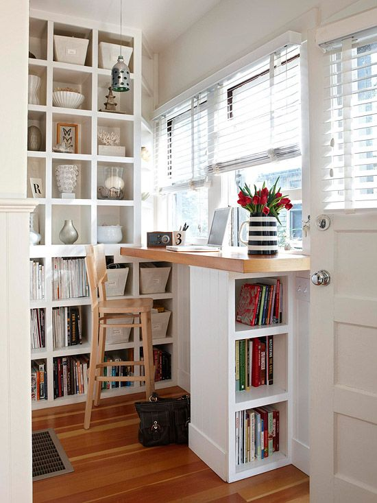 a windowsill dining and working space with additional storage takes little space, which is ideal