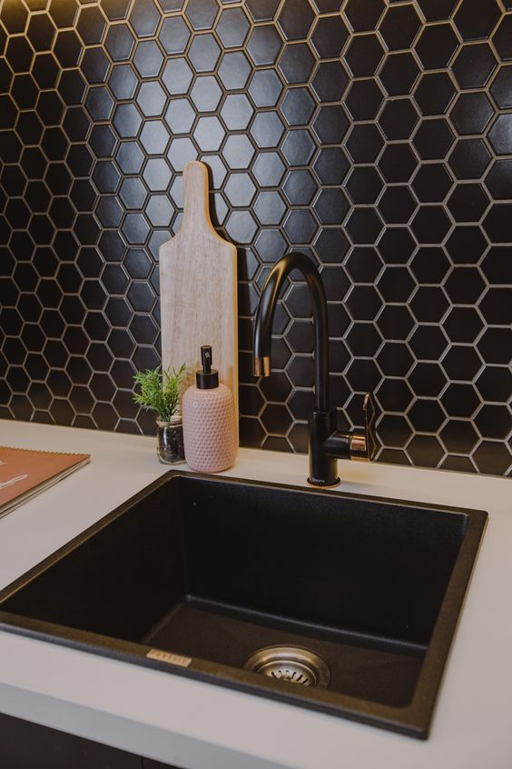 a beautiful and textural black hex tile backsplash will add chic and elegance to the kitchen, and a black sink and fixtures echo with it