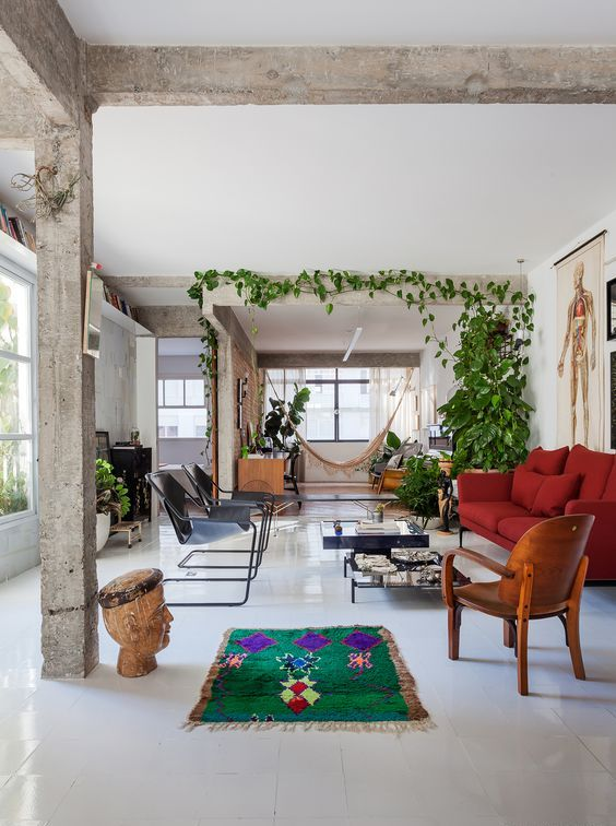 a climbing plant covering a concrete beam plus some statement plants enliven this space a lot