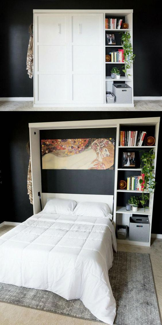a comfortable storage unit with open shelves and a Murphy bed inside will save a lot of space