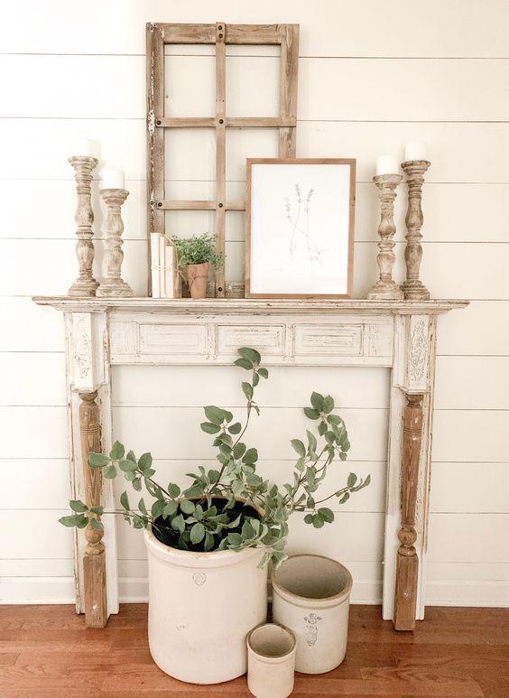 cool spring faux mantel decor