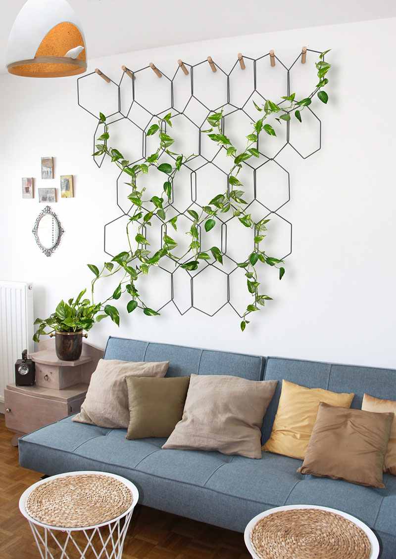 a modern living room with a trellis with an indoor vine, stylish furniture and some woven and cork touches
