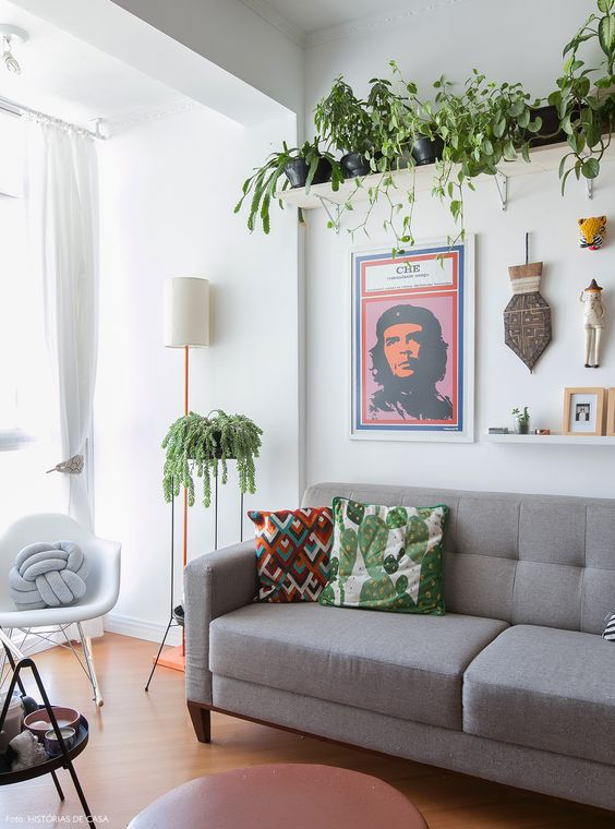 a modern living room with climbing plants hanging from above and a small one next to the sofa