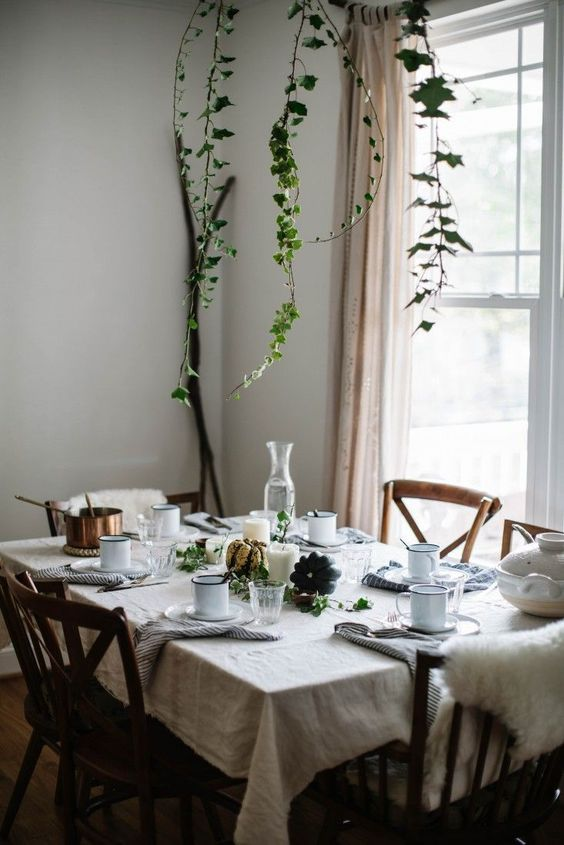 natural light fro the window and some climbing plants over the dining table refresh the space a lot