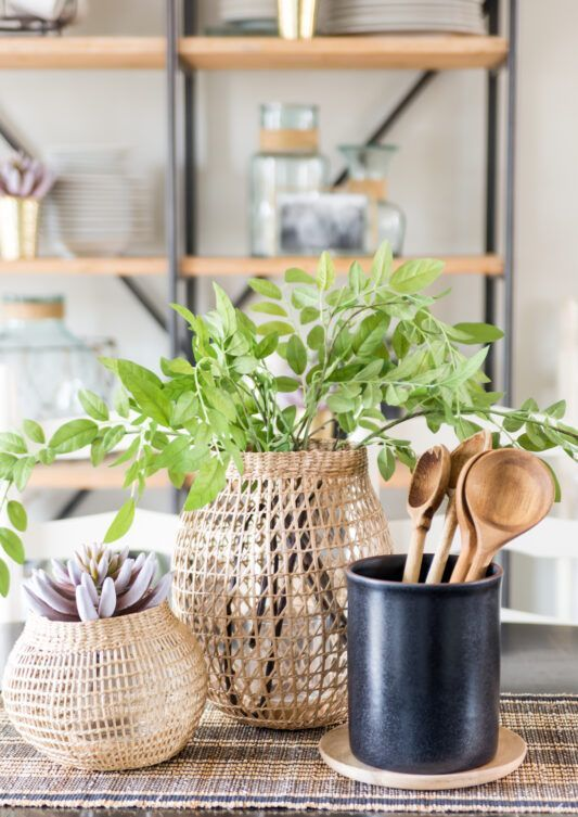 woven vases with greenery and succulents will be a pretty cluster centerpiece for a spring-infused space