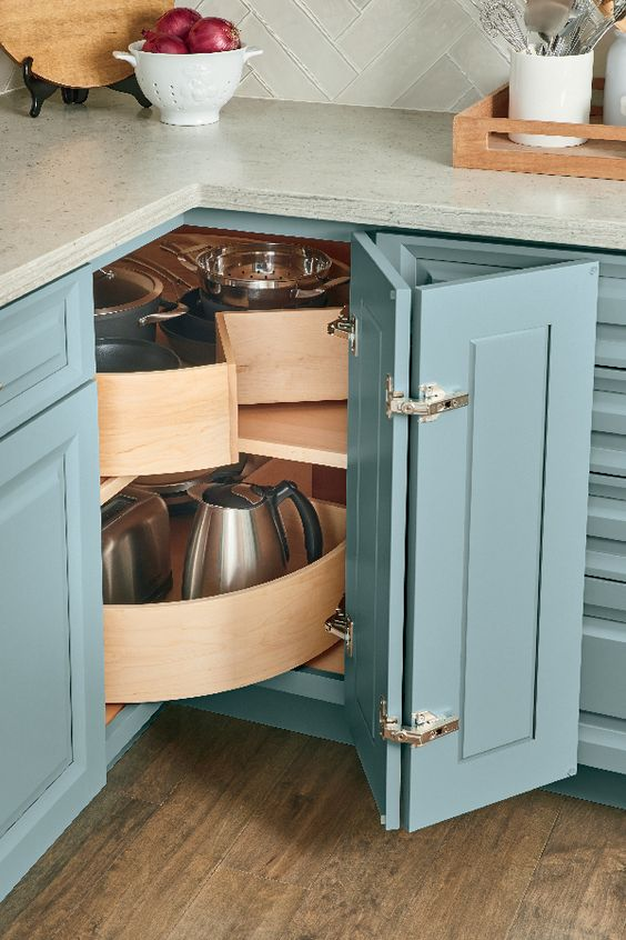 05 a lazy susan corner cabinet with a folding door and plywood swivel parts is amazing for your kitchen corner