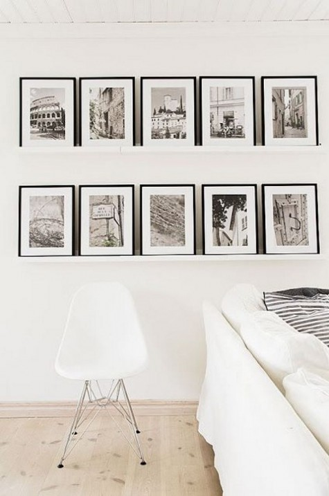 IKEA Ribba ledges and matching black frames for creating a retro-inspired gallery wall