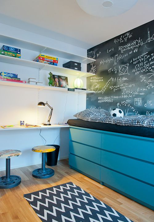 07 IKEA Malm dressers turned into a bold blue storage bed is a perfect idea for a small bedroom including this little kid's room
