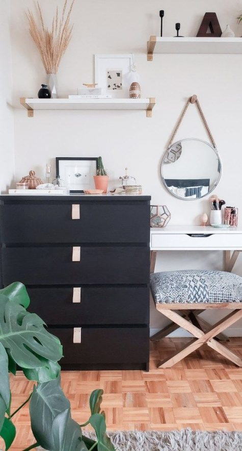 09 a black IKEA Malm dresser with neutral leather pulls is a stylish idea for a modern space