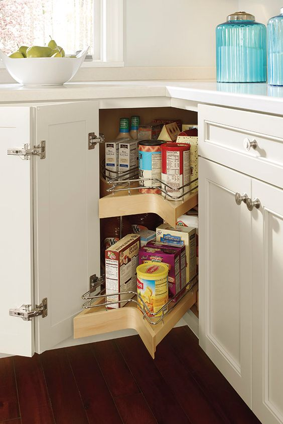 09 a lazy susan corner cabinet with pull-outs is another smart and cool idea to make use of this tiny space