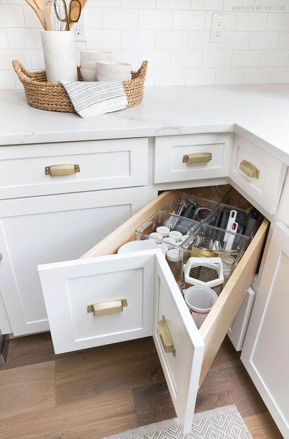a stylish corner storage solution - a corner drawer for holding everything you may need and keep it organized