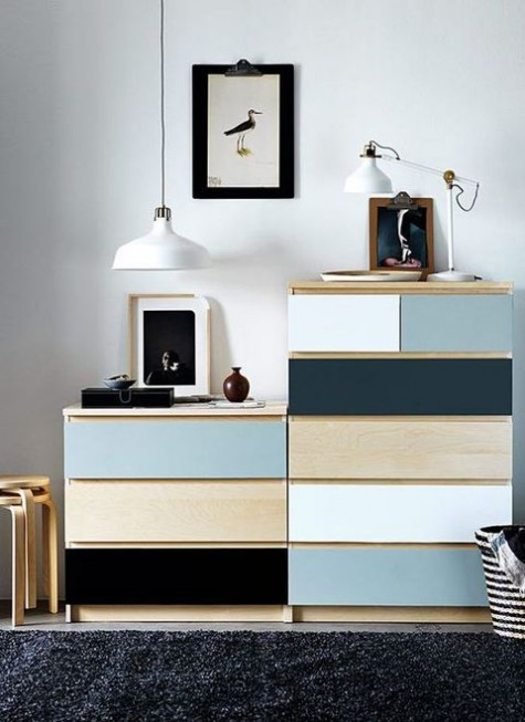 a chic and easy IKEA Malm dresser hack done with adhesive paper of various colors is a cool idea