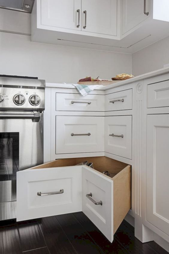 11 go for several corner drawers to maximize storage space and make use of every inch of it