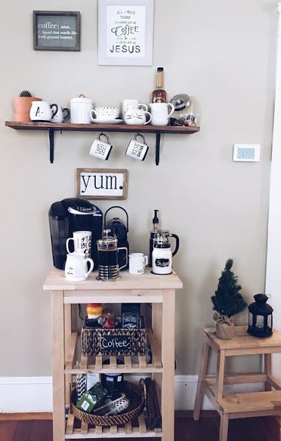 an IKEA Bekvam cart turned into a home coffee and tea station - this piece is ideal for housing such items