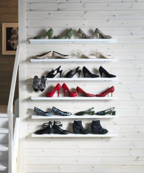 a simple and cute shoe display with Ribba ledges will make them not just stored but beautifully displayed