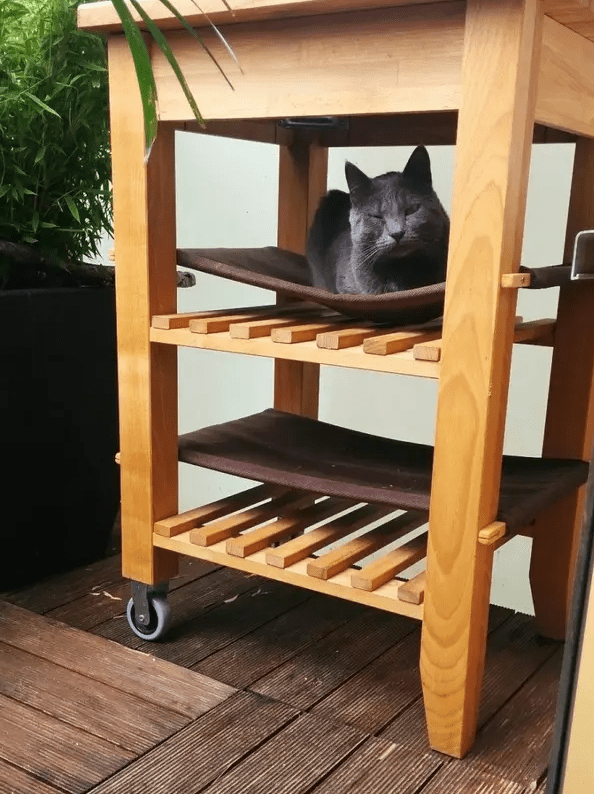 an IKEA Bekvam cart with two cat hammocks inside is a cool idea to accommodate a couple of kitties