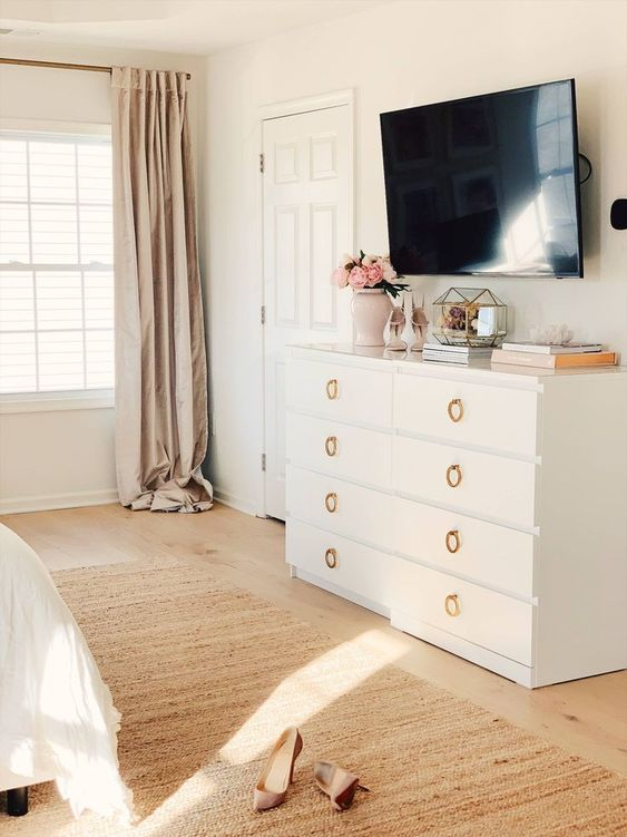 15 a glam IKEA Malm dresser hack in white and with gold ring pulls is a chic idea for many spaces and the color is timeless
