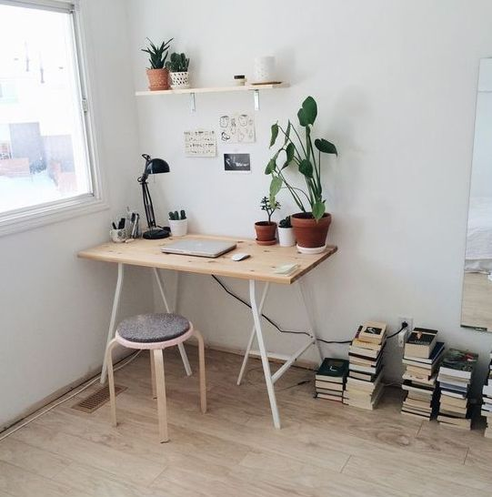 a small and sleek modern desk, an IKEA stool, a shelf on the wlal and potted plants and cacti by the window