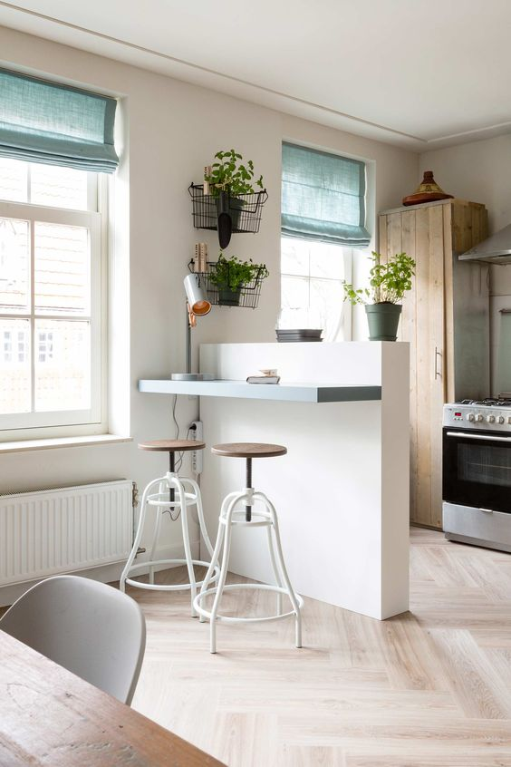 16 a pony wall with a floating bar counter attached, tall vintage stools to form a breakfast space or a working one