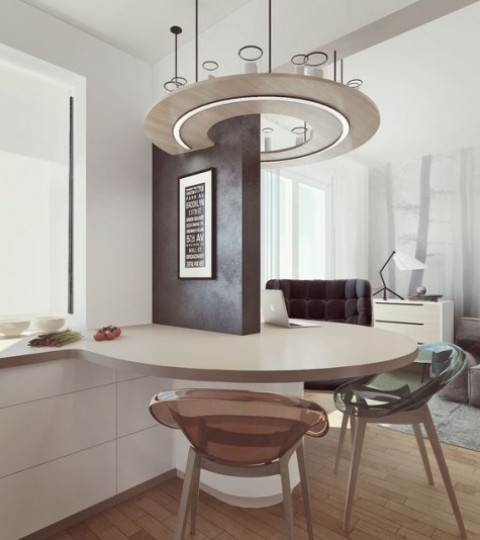 17 a round floating breakfast bar that can be used both for meals and working, and its design is amazing