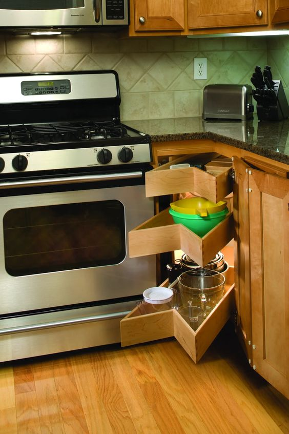 17 non-closed corner kitchen drawers like these ones look no so neat but make access to stuff easier