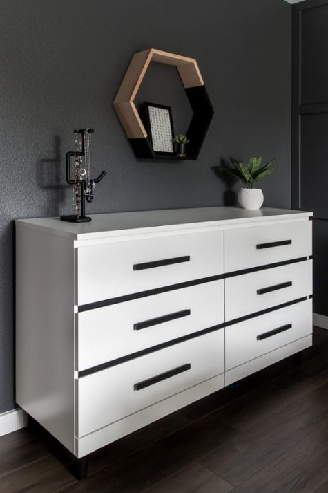 a timeless black and white IKEA Malm hack with removable stickers won't take much time and will match many spaces