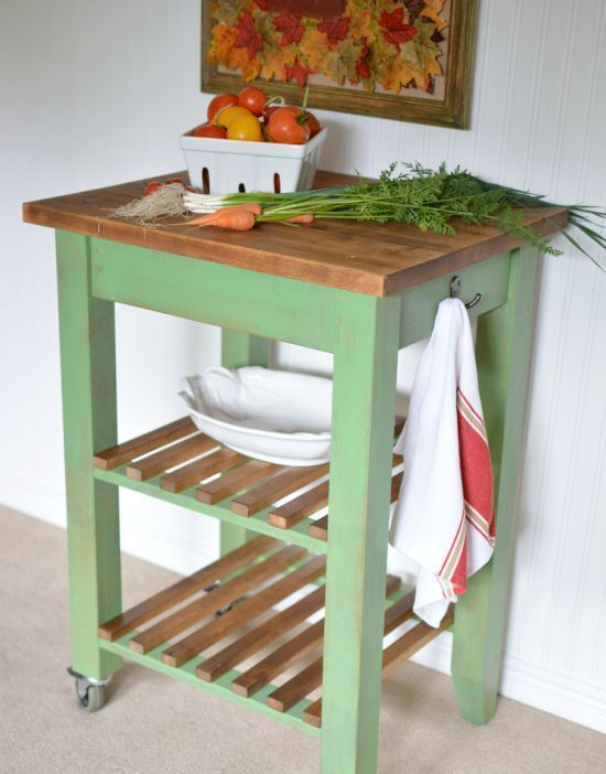 a lovely IKEA Bekvam cart painted green, with a butcherblock countertop and stained wooden slabs will be a perfect match for a rustic space