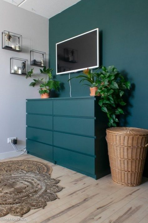 19 an IKEA Malm dresser hack with teal paint to match the wall and give the space a seamless look