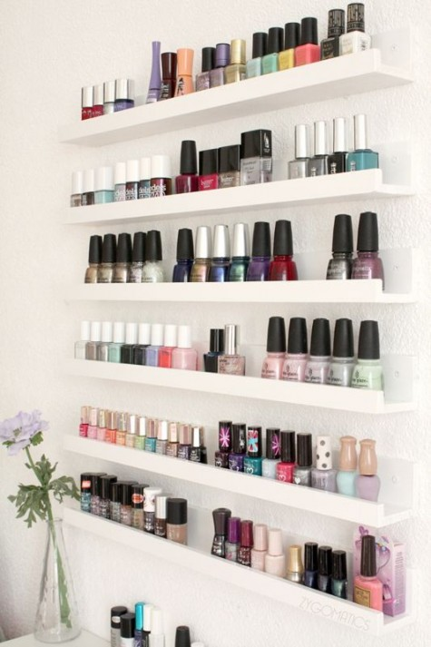 19 display your nail polishes on IKEA Ribba ledges to store them comfrotably and have all of them at hand