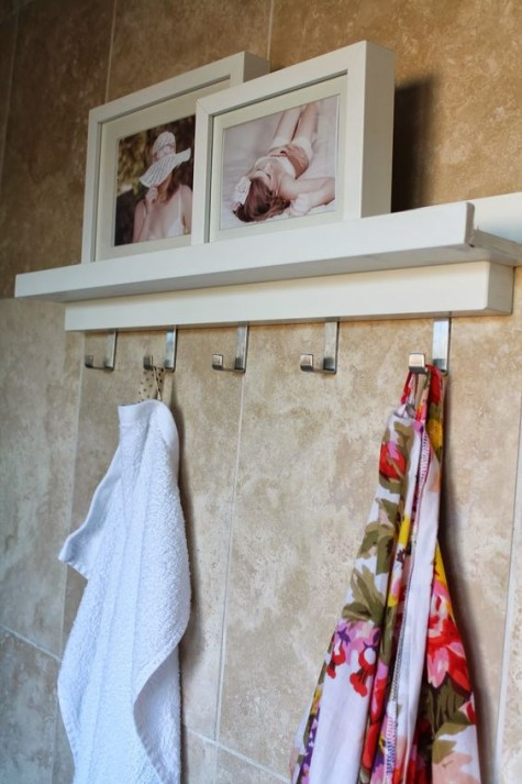 IKEA Ribba ledges plus hooks for hanging towels in the bathroom is a lovely idea and a very fast and easy hack