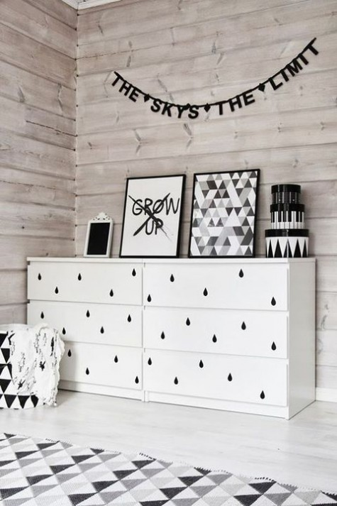 20 an IKEA Malm dresser hacked with black drop adhesives to make it look more Nordic yet whimsical enough for a kid's room