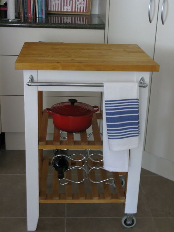 a simple IKEA Bekvam trolley makeover with white paint, a butcherblock countertop, a handle for towels and other stuff