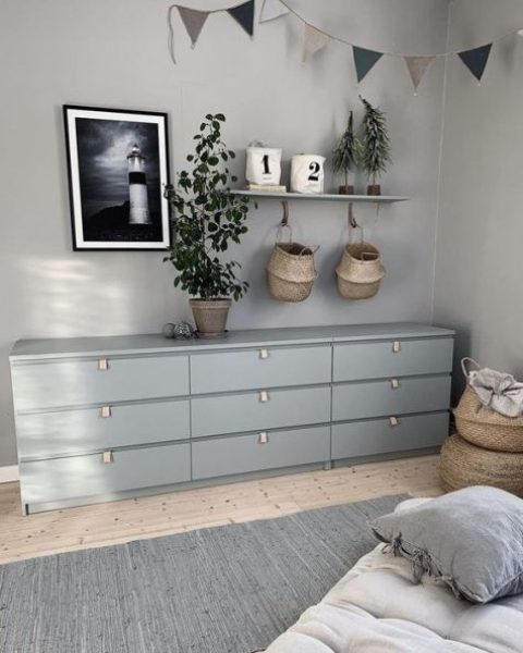 25 an IKEA Malm hack with grey paint and leather pulls is a perfect piece for a Scandinavian space