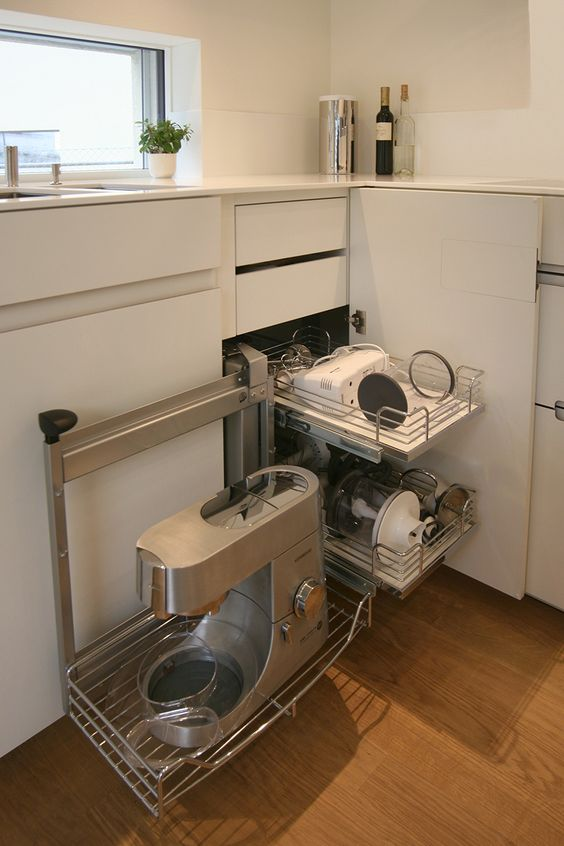 hide all your appliances inside a magic corner cabinet and you will reach them easily whenever you want