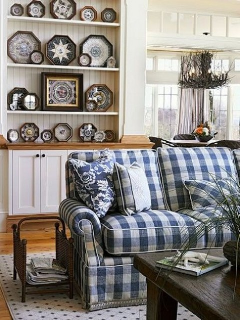 a checked blue and white Ektorp cover is a great solution for a farmhouse interior, it adds color and print to the space